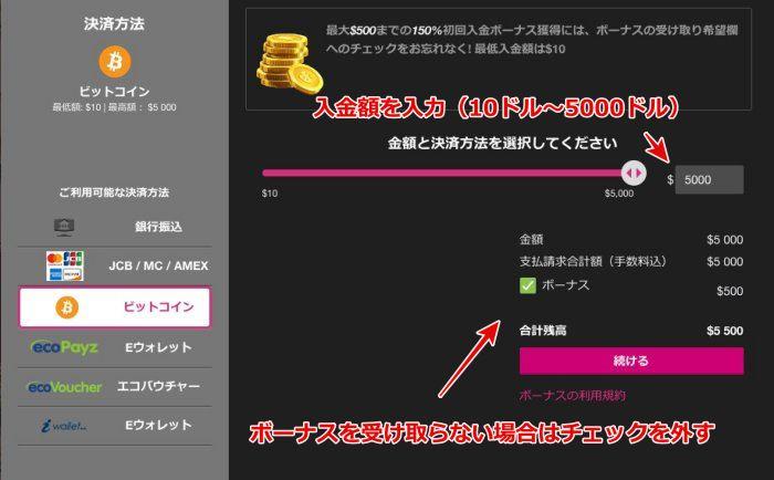 クイーンカジノ ビットコイン入金3