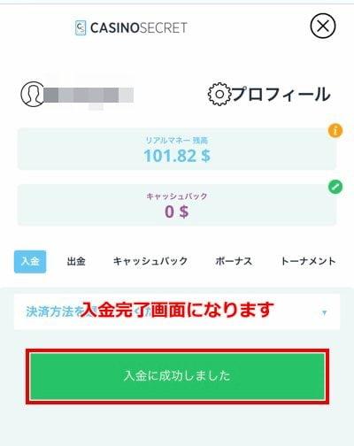 カジノシークレット エコペイズ入金6