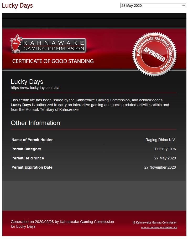 Luckydays licence2