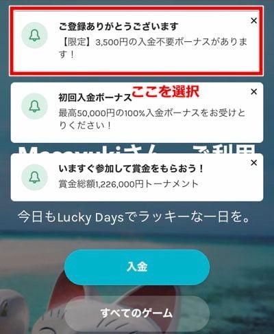 ラッキーデイズカジノ 登録方法16