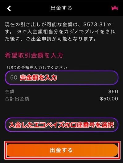 インターカジノ エコペイズ出金手順2