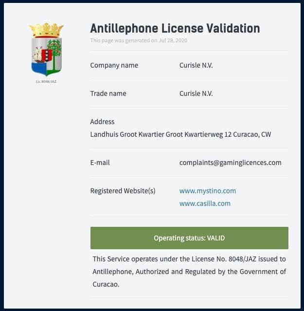 Mystino licence1