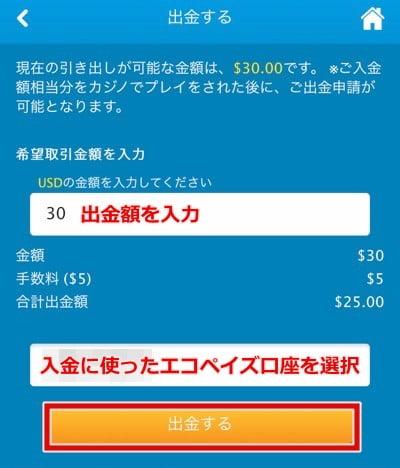 ベラジョンカジノ エコペイズ出金手順2