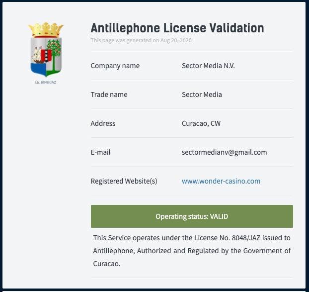 Wondercasino licence2