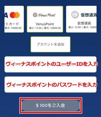 カジ旅 ヴィーナスポイント入金手順4