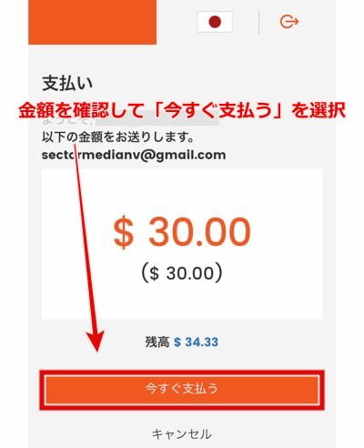 ワンダーカジノ スティックペイ入金手順7