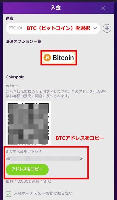 バオカジノ ビットコイン入金