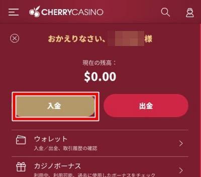 チェリーカジノ 入金画面